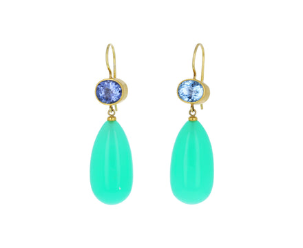 Paraiba Tourmaline and Chrysoprase Apple and Eve Earrings