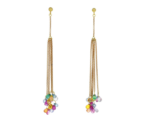 Multi Gem Dangling Silk Earrings