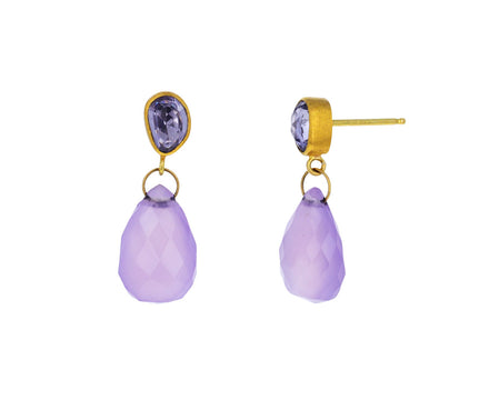 Lavender Sapphire and Lavender Chalcedony Apple & Eve Earrings