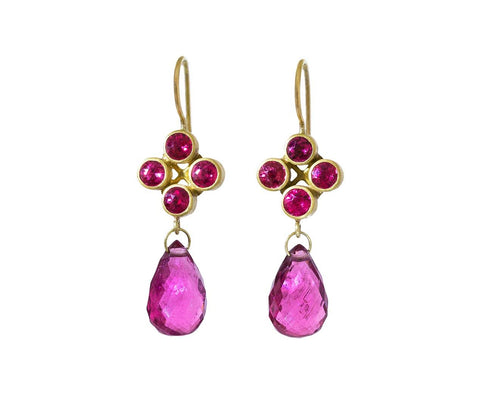 Red Spinel and Rubelite High Wire Earrings - TWISTonline