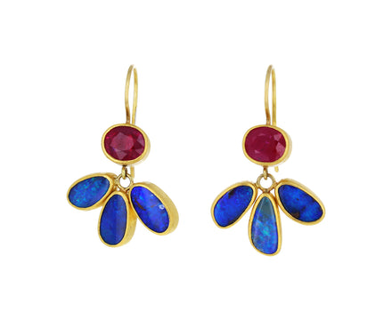 Ruby and Boulder Opal Peacock Tail Earrings