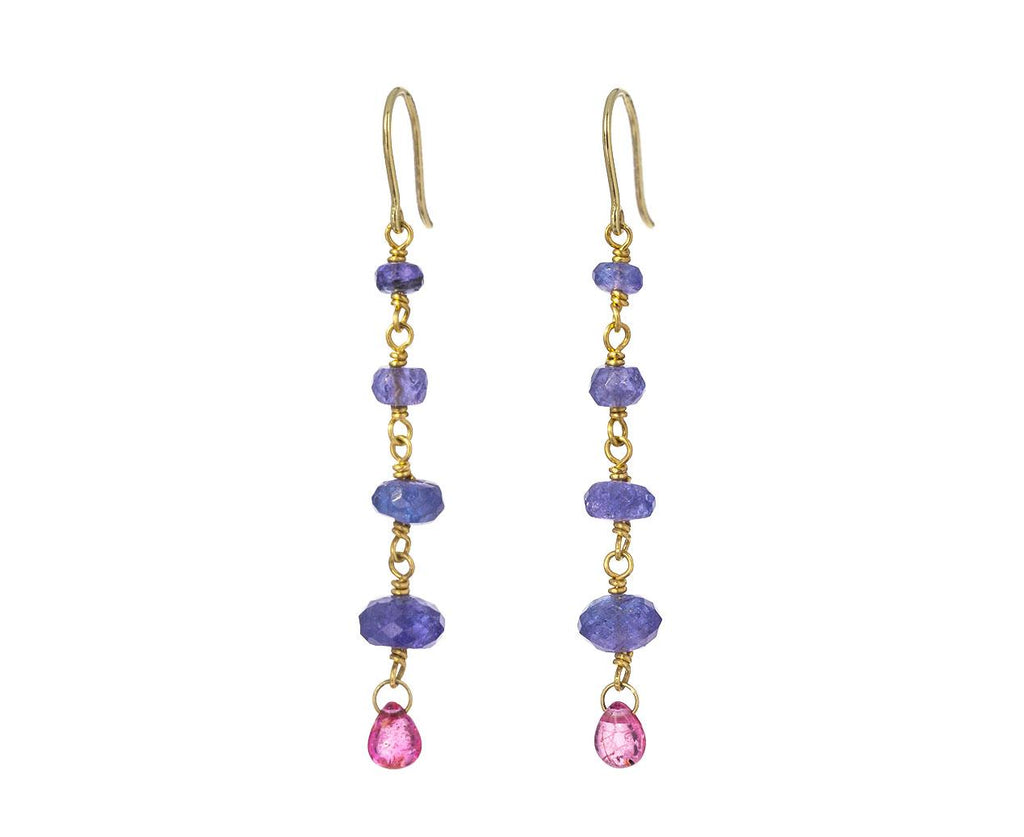 Tanzanite and Pink Spinel Spun Sugar Earrings - TWISTonline