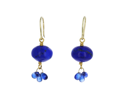 Lapis and Blue Sapphire Briolette Earrings
