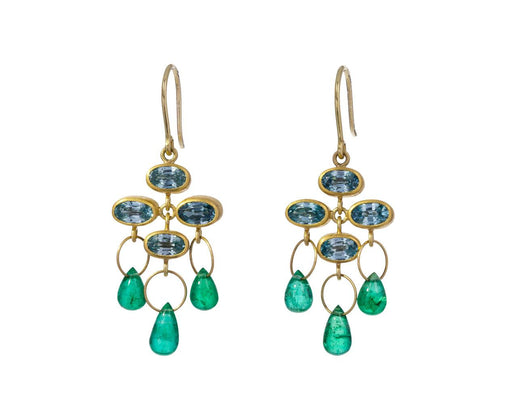 Blue Zircon and Emerald Trapeze Earrings - TWISTonline
