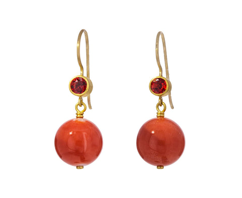 Red Sapphire and Coral Apple and Eve Earrings