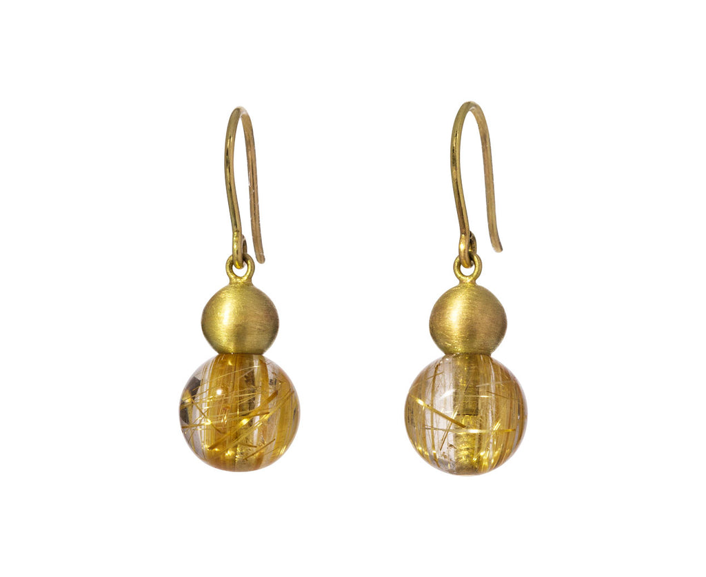Rutilated Quartz Buoy Earrings