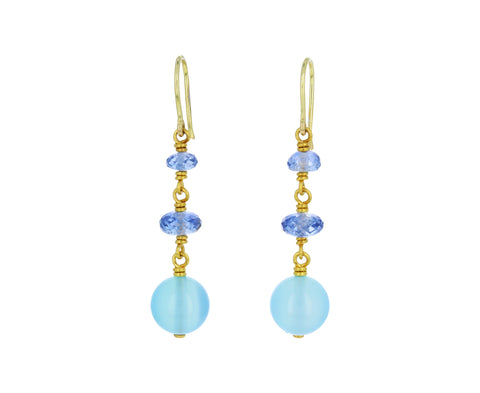 Sapphire and Chalcedony Spun Sugar Earrings