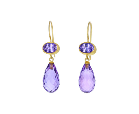 Purple Sapphire and Amethyst Apple and Eve Earrings