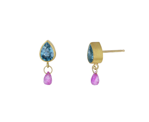 Blue Zircon and Ruby Briolette Stud Earrings