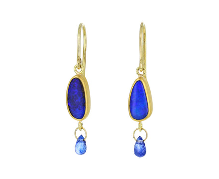 Opal and Sapphire Briolette Earrings