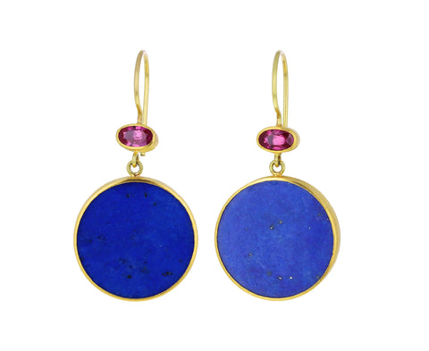 Ruby and Lapis Apple and Eve Earrings