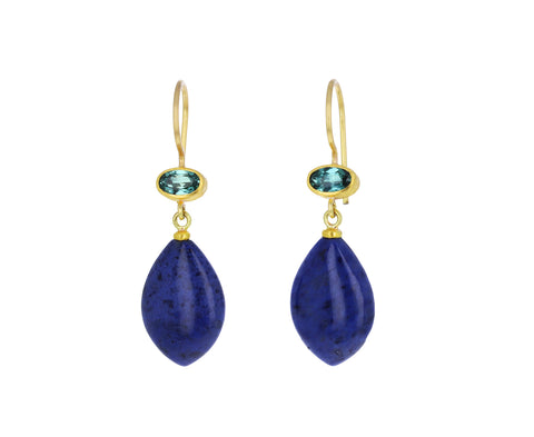 Blue Green Tourmaline and Dumortierite Apple and Eve Earrings