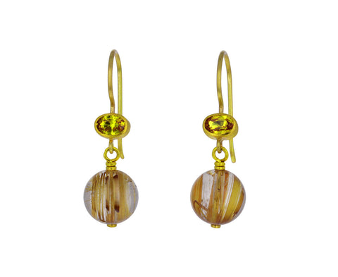Yellow Sapphire and Rutilated Quartz Apple & Eve Earrings