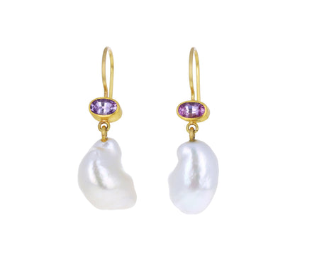 Pink Sapphire and Keshi Pearl Apple and Eve Earrings