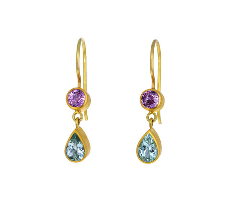 Pink Sapphire and Paraiba Tourmaline Bon Bon Earrings