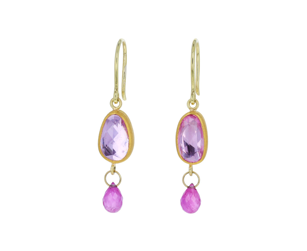 Pink Sapphire and Ruby Briolette Apple and Eve Earrings