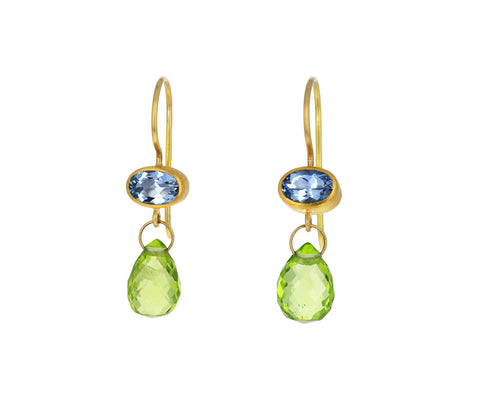 Aquamarine and Peridot Apple & Eve Earrings