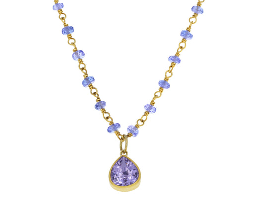 Tanzanite and Lavender Tourmaline Spun Sugar Necklace