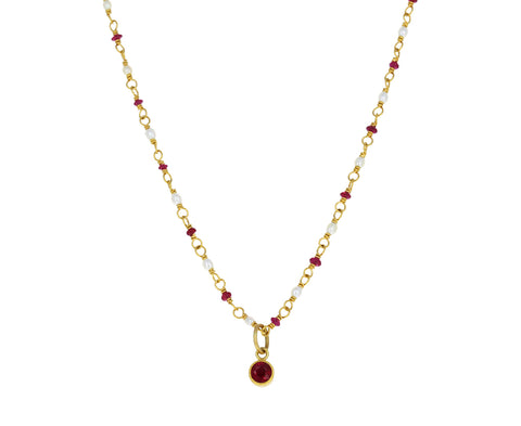 Ruby and Pearl Spun Sugar Necklace