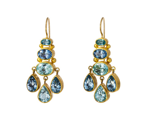 Blue Zircon, Aquamarine and Paraiba Tourmaline Chandelier Earrings - TWISTonline