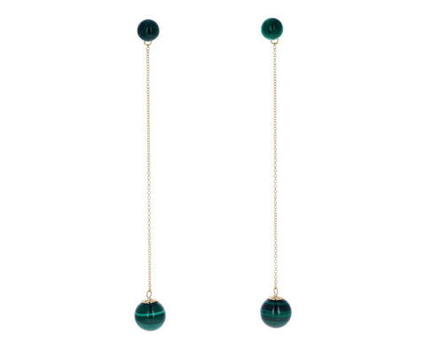 Malachite Sphere Drop Earrings