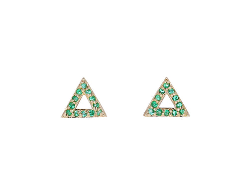 Mini Emerald Triangle Stud Earrings