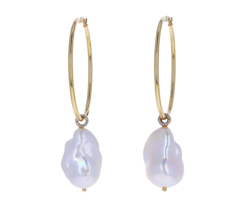 Large Detachable Baroque Pearl Hoop Earrings