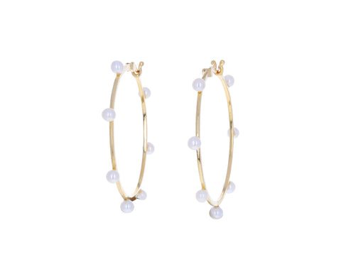 Pearl Large Dot Hoop Earrings