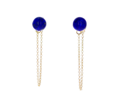 Lapis Chain Drop Earrings