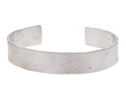 Wide Silver Parchment Scattered Diamond Cuff - TWISTonline