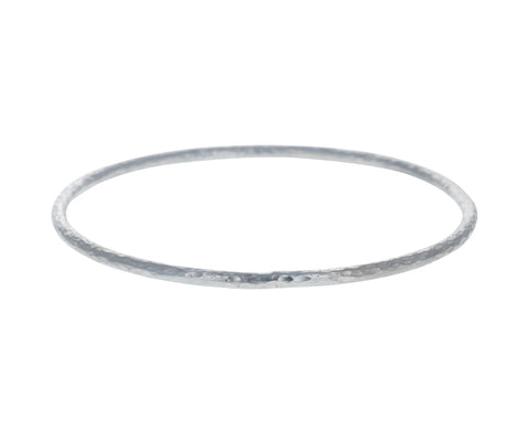 Silver T Shirt Hammered Bangle