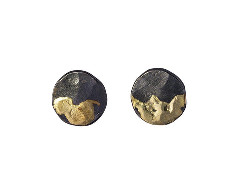 Gilded Lily Pad Stud Earrings zoom 1_sarah_mcguire_gold_silver_gilded_lily_pad_earrin