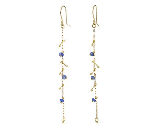 Blue Sapphire Gold Strand Earrings - TWISTonline