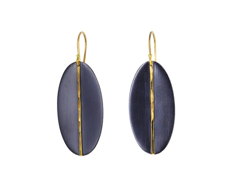 Two-Tone Oval Mod Earrings