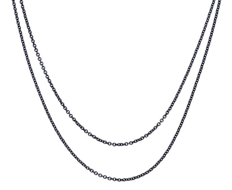 Silver Long Cable Chain Necklace