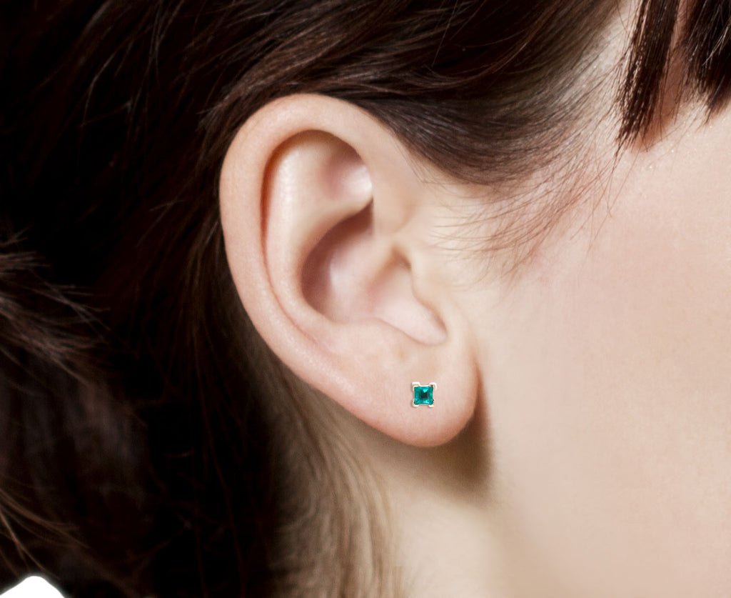 Princess Cut Emerald SINGLE Stud Earring