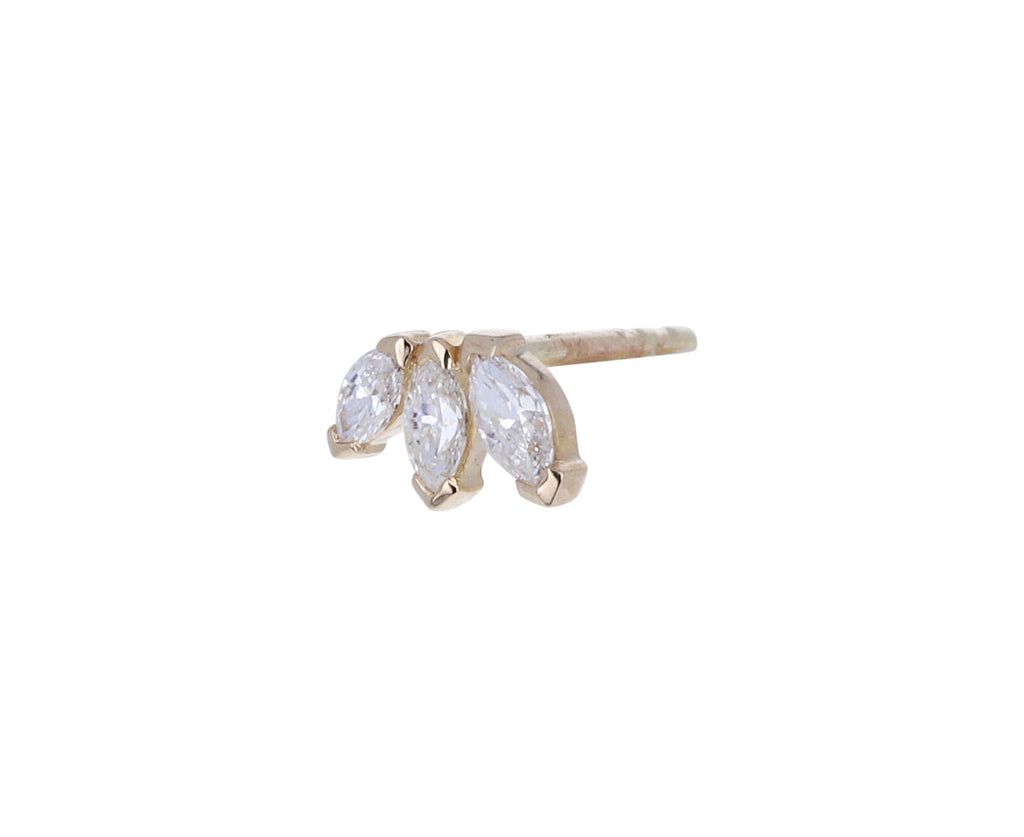 Triple Diamond Marquise SINGLE Stud