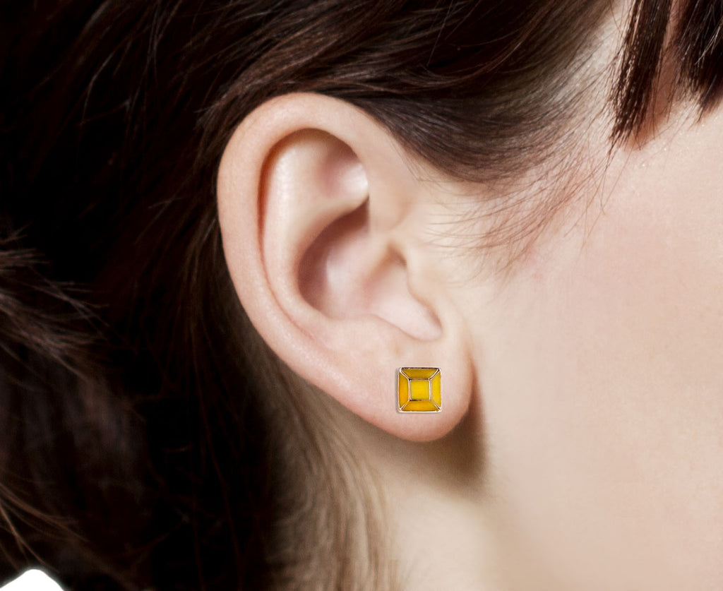Yellow Enamel Cushion Cut Gem SINGLE Stud Earring