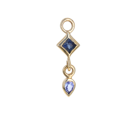 Tanzanite and Sapphire Double Plaque SINGLE Earring Charm