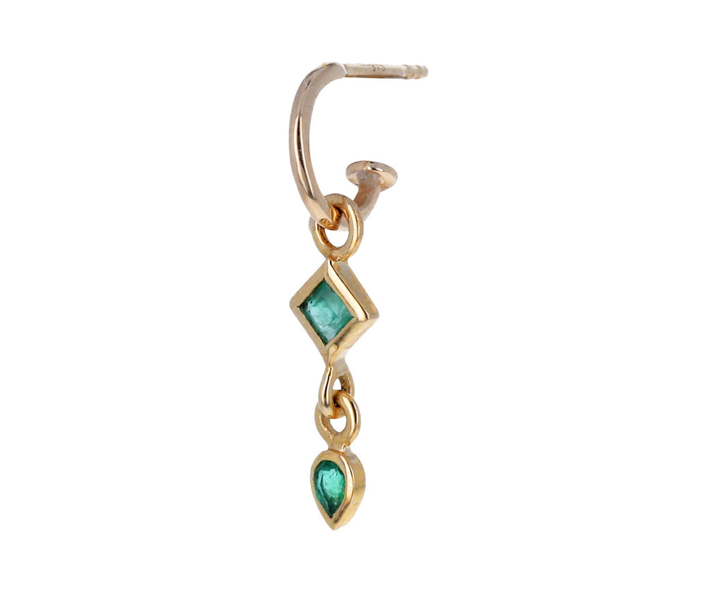 Double Emerald Plaque SINGLE Earring Charm