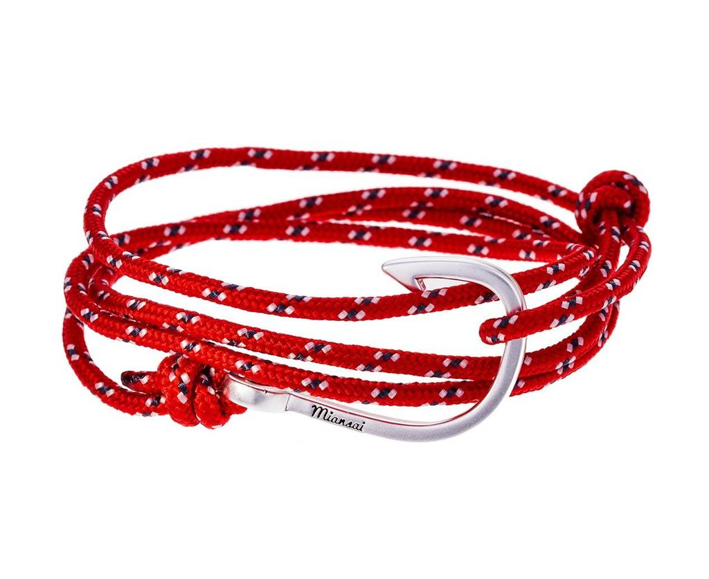 Crimson Rope and Silver Plated Hook Wrap Bracelet - TWISTonline