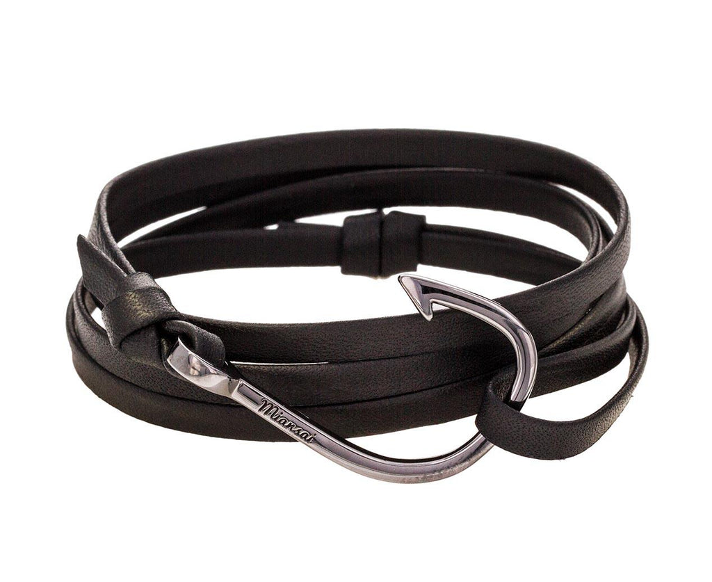 Black Leather and Black Rhodium Plated Hook Bracelet - TWISTonline