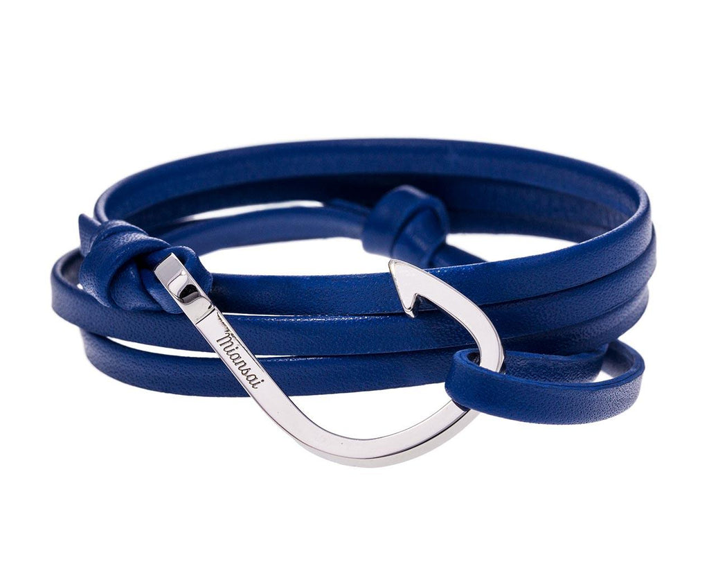 Blue Leather and Silver Plated Hook Bracelet - TWISTonline
