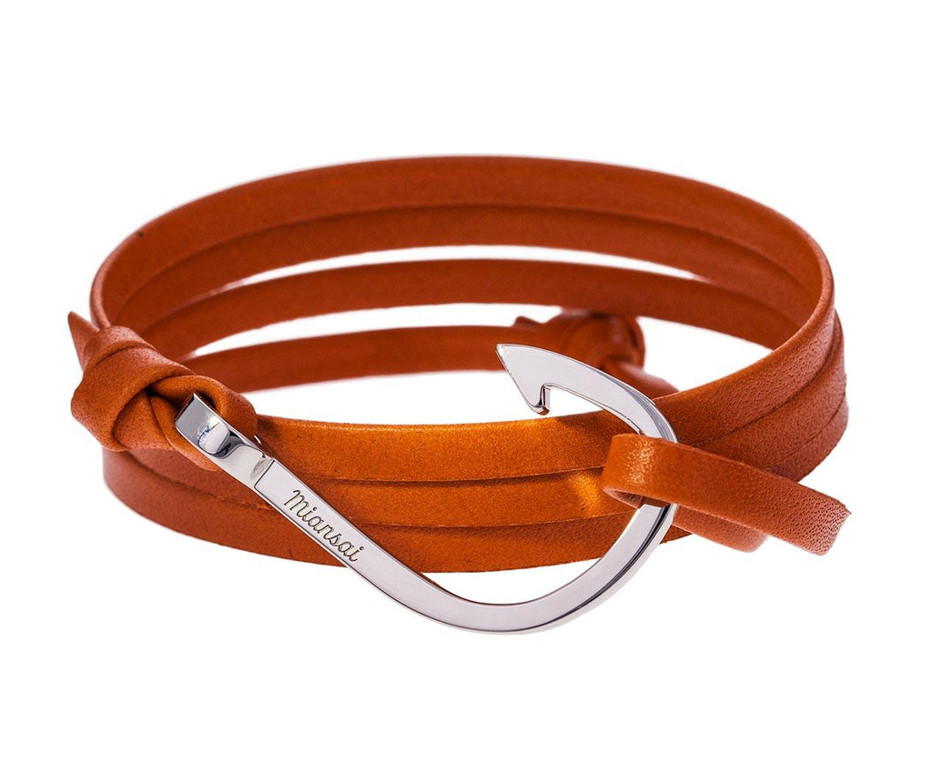 Orange Leather and Silver Plated Hook Bracelet - TWISTonline