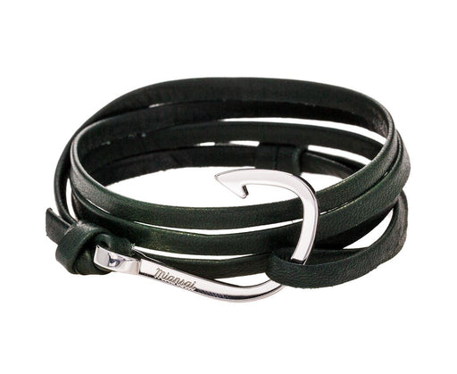 Green Leather and Silver Plated Hook Bracelet - TWISTonline