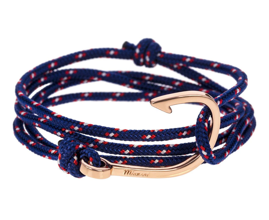 Navy Rope and Rose Gold Plated Hook Wrap Bracelet - TWISTonline