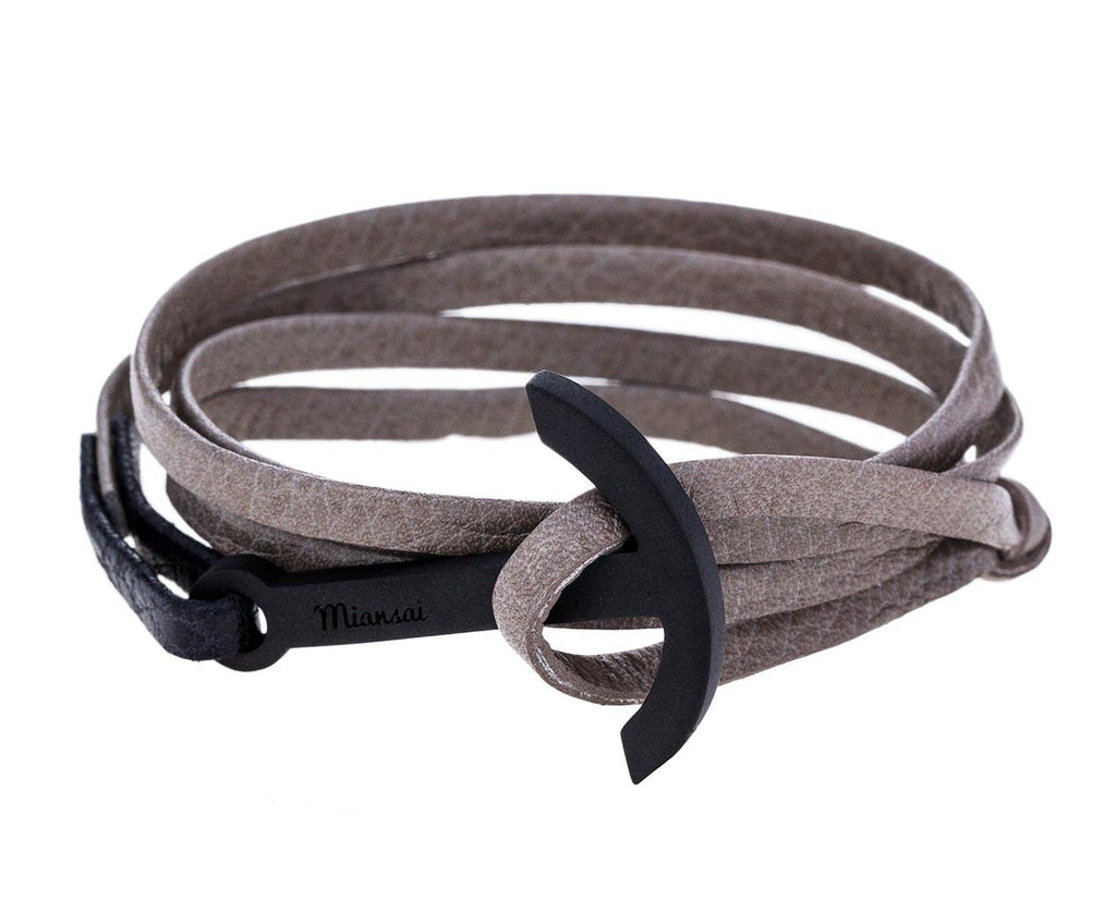 Black Anchor Leather Wrap Bracelet - TWISTonline