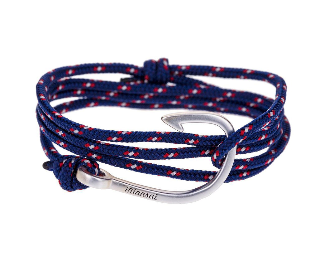 Silver Hook and Navy Rope Wrap Bracelet - TWISTonline