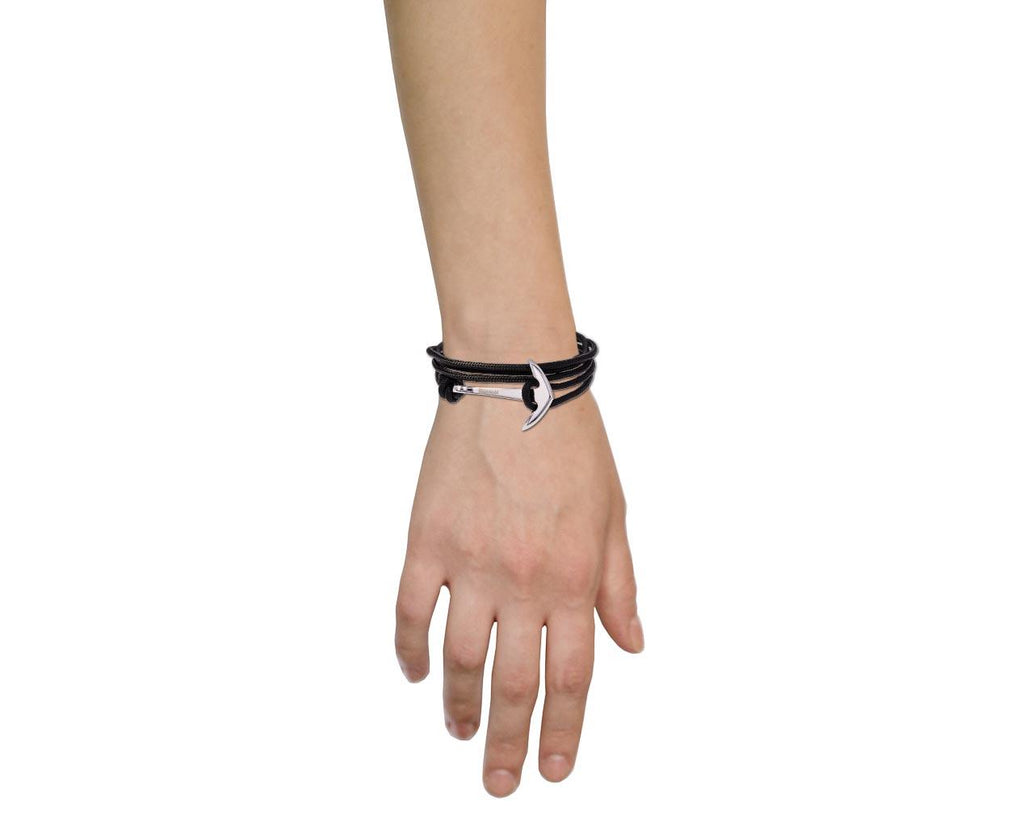Silver Hook and Black Nylon Bracelet - TWISTonline
