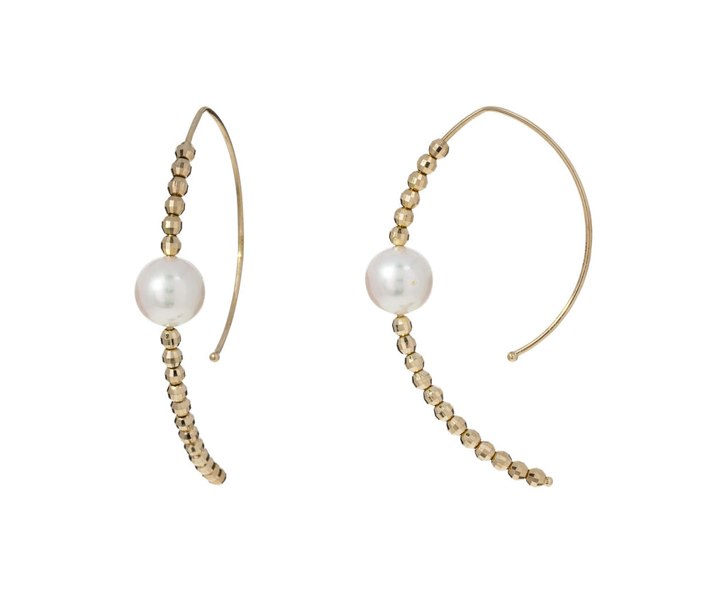 Gold Bead and Akoya Pearl Marquis Hoops - TWISTonline